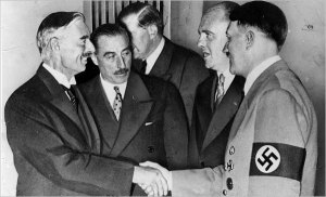 Chamberlain shakes hands with Hitler