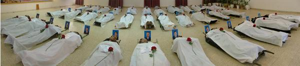 Bodies of 36 victims of  massacre conducted by Iraqi forces in Camp Ashraf on April 8, 2011